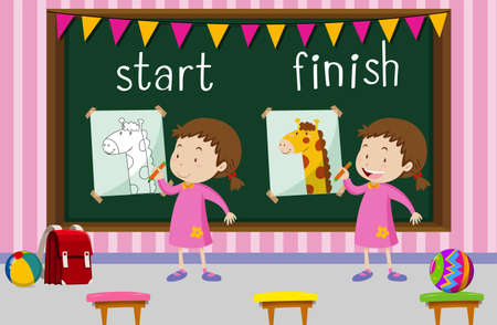 Opposite words for start and finish with girl drawing giraffe illustration.
