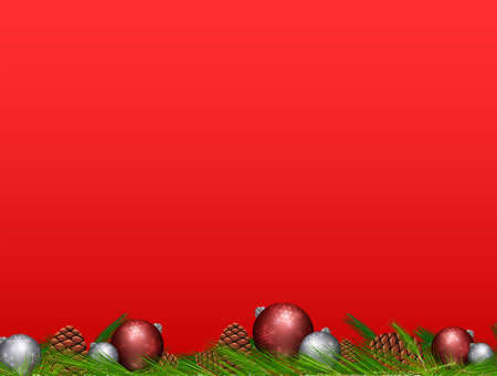 Pine cone and Christmas balls on red background illustration.