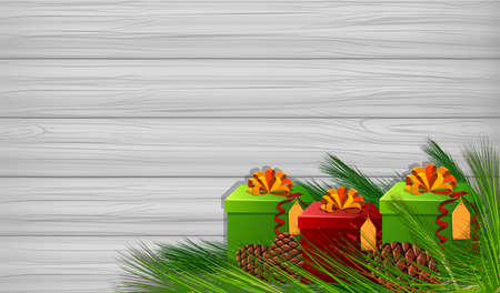 Background template with cChristmas gifts illustration.