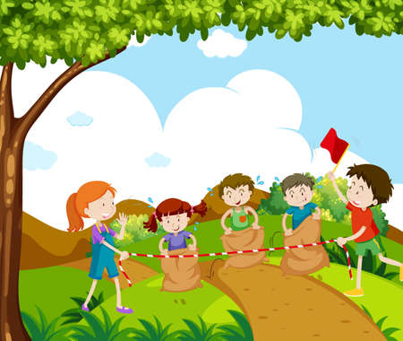 Children jumping in a race illustration