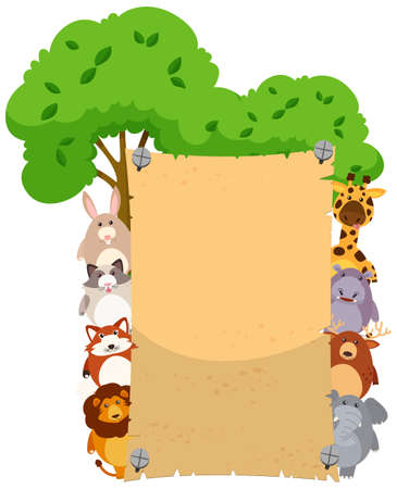 Paper template with cute animals on both sides illustration