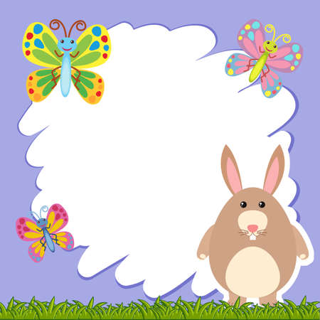 Border template with brown rabbit illustration