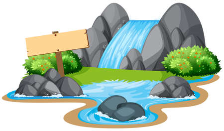 Scene with waterfall and river illustration  イラスト・ベクター素材