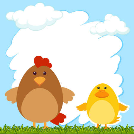 Border template with hen and chick illustration