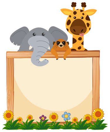 Border template with elephant and giraffe in background illustration Illustration