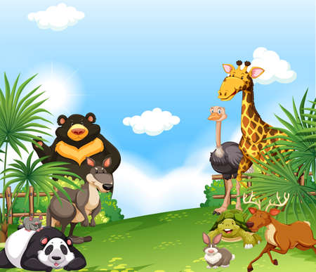 A Background scene with wild animals in the field illustration