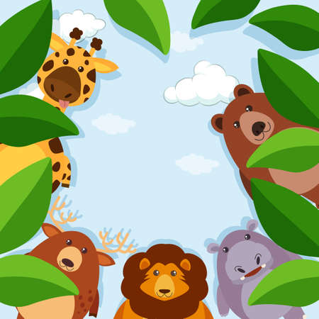 Border template with animals and leaves illustration