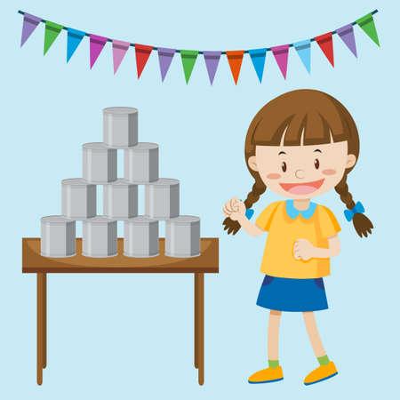 petite fille jouant des boîtes à la foire illustration