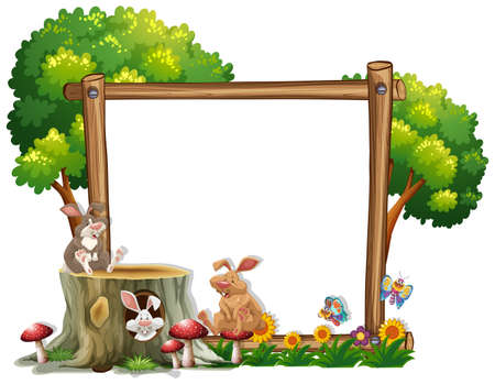 Border template with two bunnies illustration Illustration