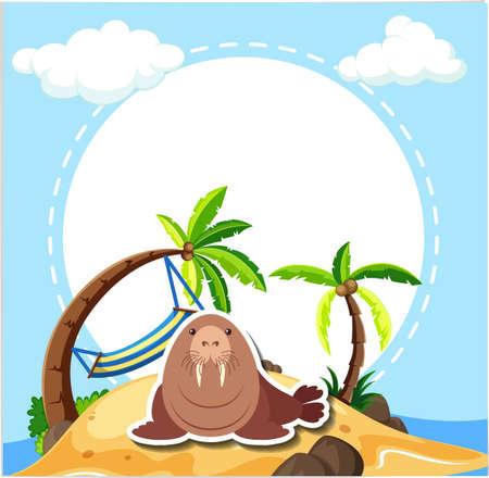 Sea lion on the beach illustration