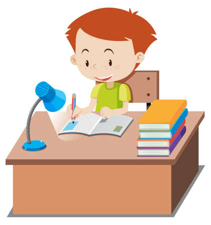 Little boy doing homework on table illustration Çizim