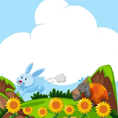 Kaninchen und Schildkröte , die auf dem Gebiet Illustration läuft