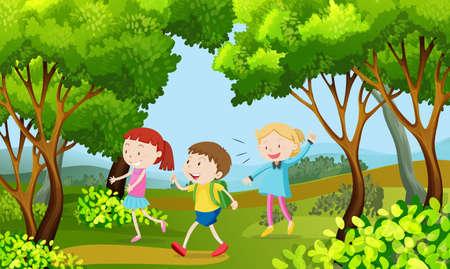 Three kids walking in the woods illustration 版權商用圖片 - 91243067