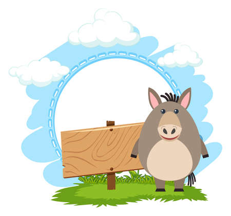 Sign template with cute donkey illustration