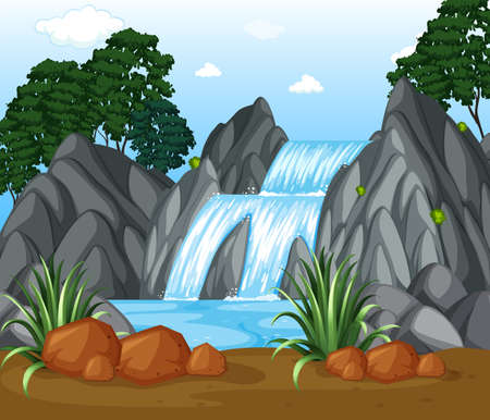 A Background scene with waterfall in the woods illustration