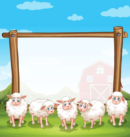 Wooden frame with sheeps in the farm illustration Illustration
