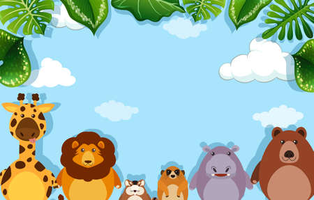 A Background template with wild animals illustration