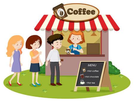 La gente espera en línea en la ilustración del stand de café