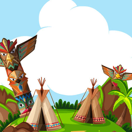 A Background scene with traditional tents and totem poles illustration Çizim