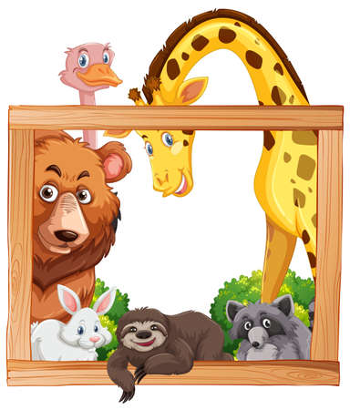 Wooden frame with wild animals illustration