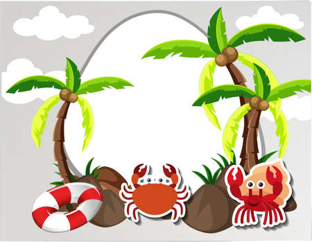Round border with crabs and coconut trees illustration Illustration