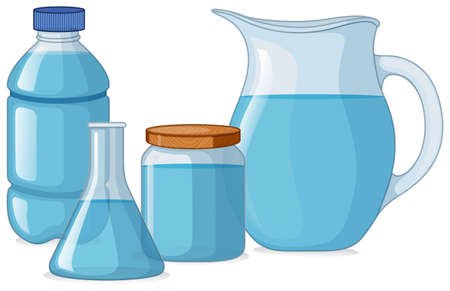Different types of containers with fresh water illustration