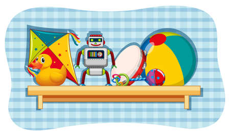 Different toys on wooden shelf illustration