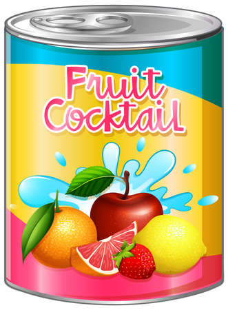 Fruit cocktail in aluminum can illustration