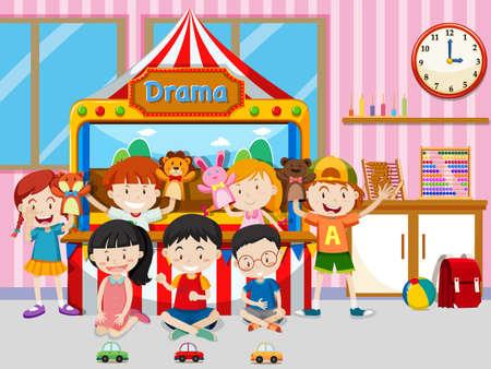 Happy kids playing in classroom illustration Иллюстрация