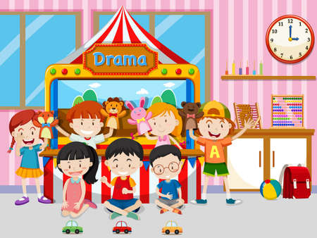 Happy kids playing in classroom illustration Illustration