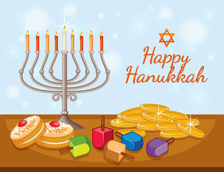 Happy Hanukkah card template with candles and coins illustration Illustration