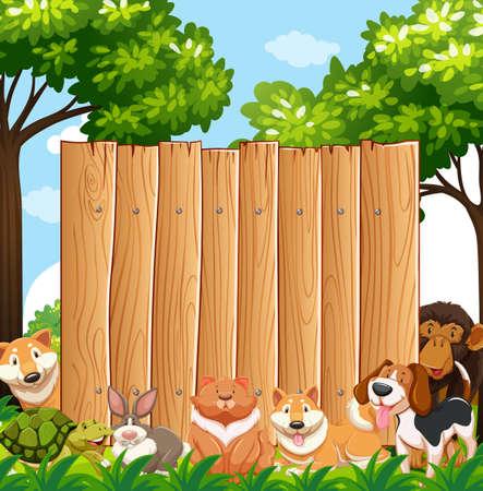 Wooden board with wild animals in garden illustration Çizim