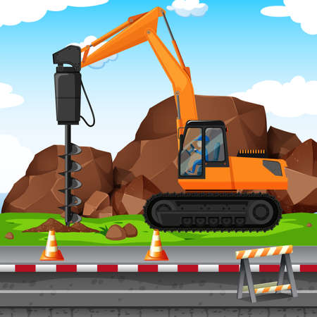Man digging hole with drill at the construction site illustration