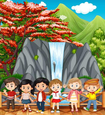 Happy children visiting waterfall illustration Illustration