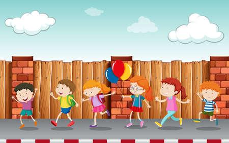 Kids walking on pavement illustration