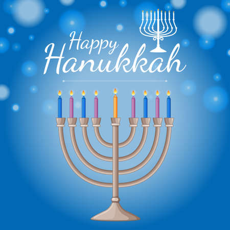 Card template for happy haukkah festival with blue candles illustration