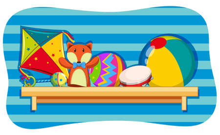 Background design with toys on shelf illustration
