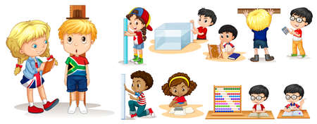 Many children measuring things with different tools illustration Vectores
