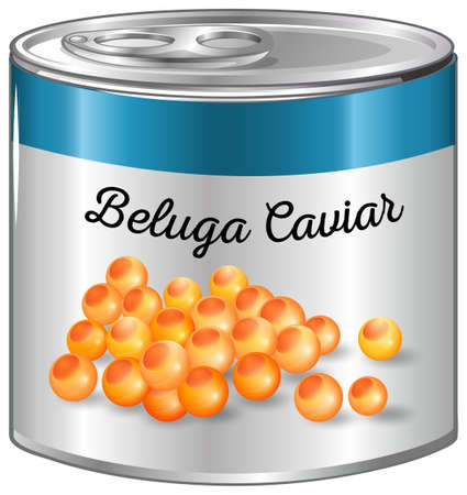Beluga caviar in aluminum can illustration