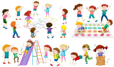 Many children play different games illustration.