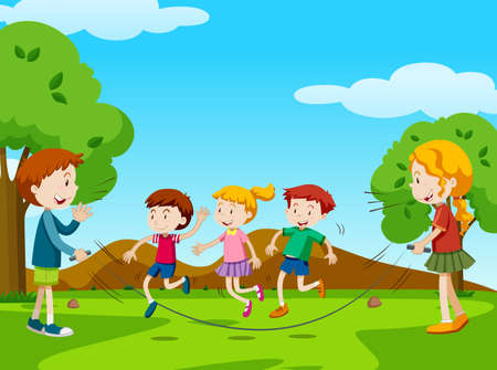 Children jumping rope in the park illustration.