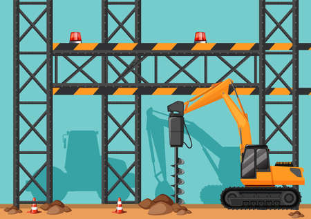 Construction site with drill digging hole illustration.