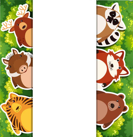 Banner template with cute animals illustration. Illustration