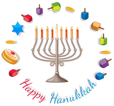 Happy Hanukkah card template with lights and decorations illustration. Illustration
