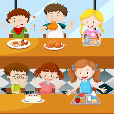 Many kids eating in the canteen illustration.