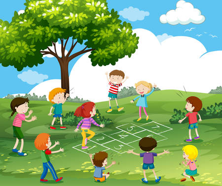 Happy children playing hopscotch in park illustration.