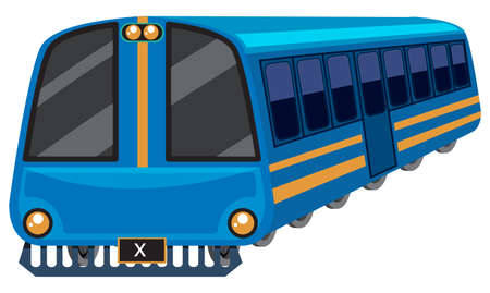 Blue train on white background illustration.