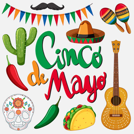 Cinco de mayo card template with Mexican hat and food illustration.