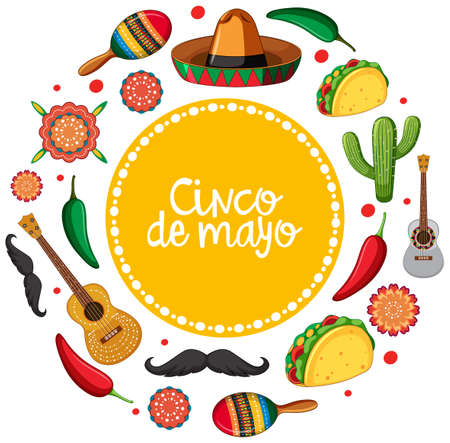 Cinco de mayo card template with mexican musical instruments illustration.