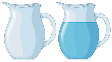 Two jars with and without water illustration.